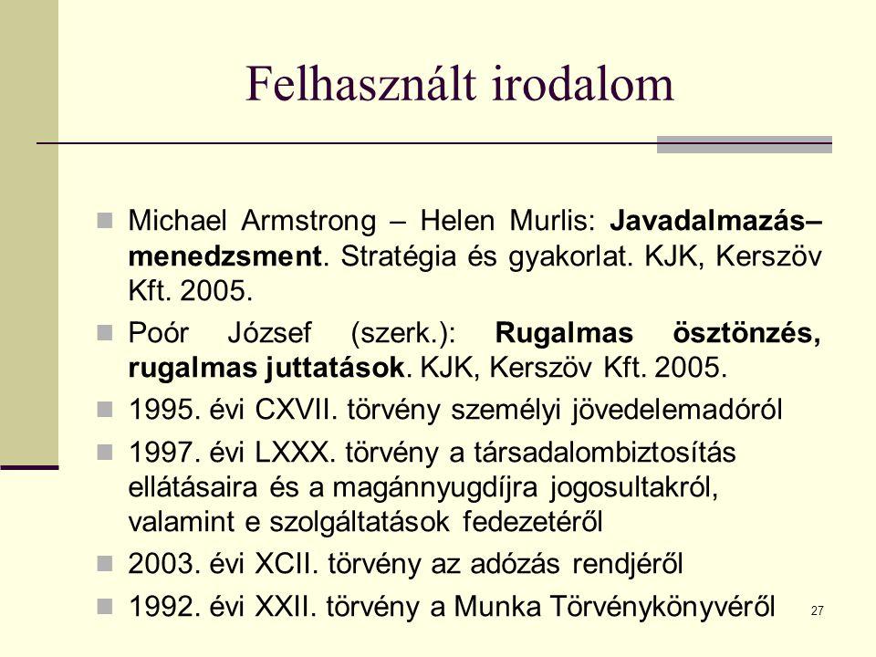 27 Felhasznált irodalom Michael Armstrong – Helen Murlis: Javadalmazás– menedzsment. Stratégia és gyakorlat. KJK, Kerszöv Kft. 2005. Poór József (szer