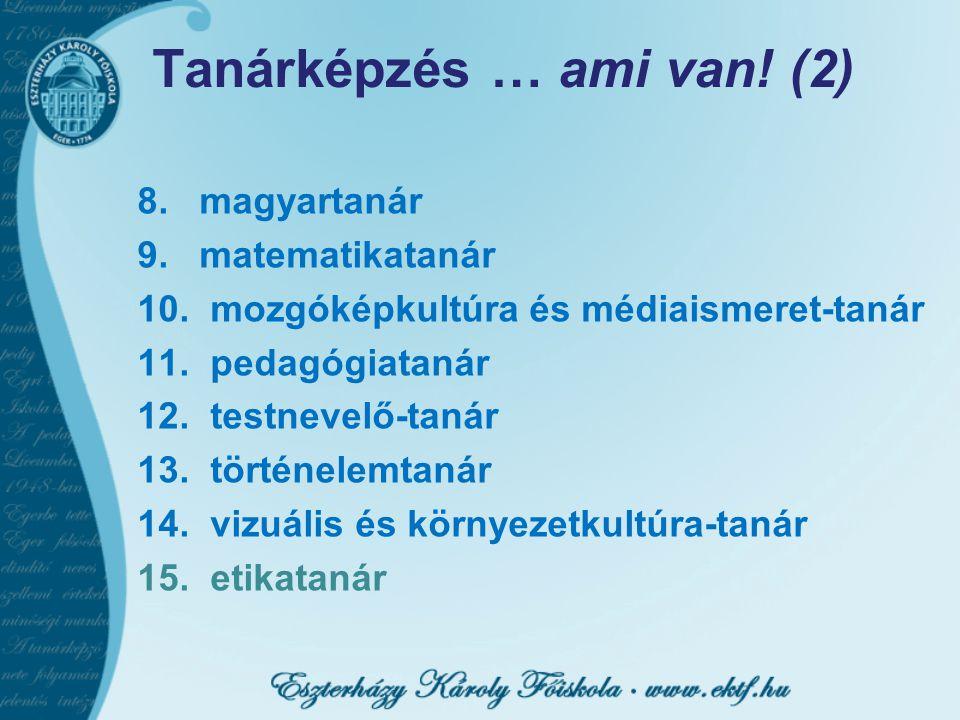 Tanárképzés … ami van! (2) 8. magyartanár 9. matematikatanár 10. mozgóképkultúra és médiaismeret-tanár 11. pedagógiatanár 12. testnevelő-tanár 13. tör