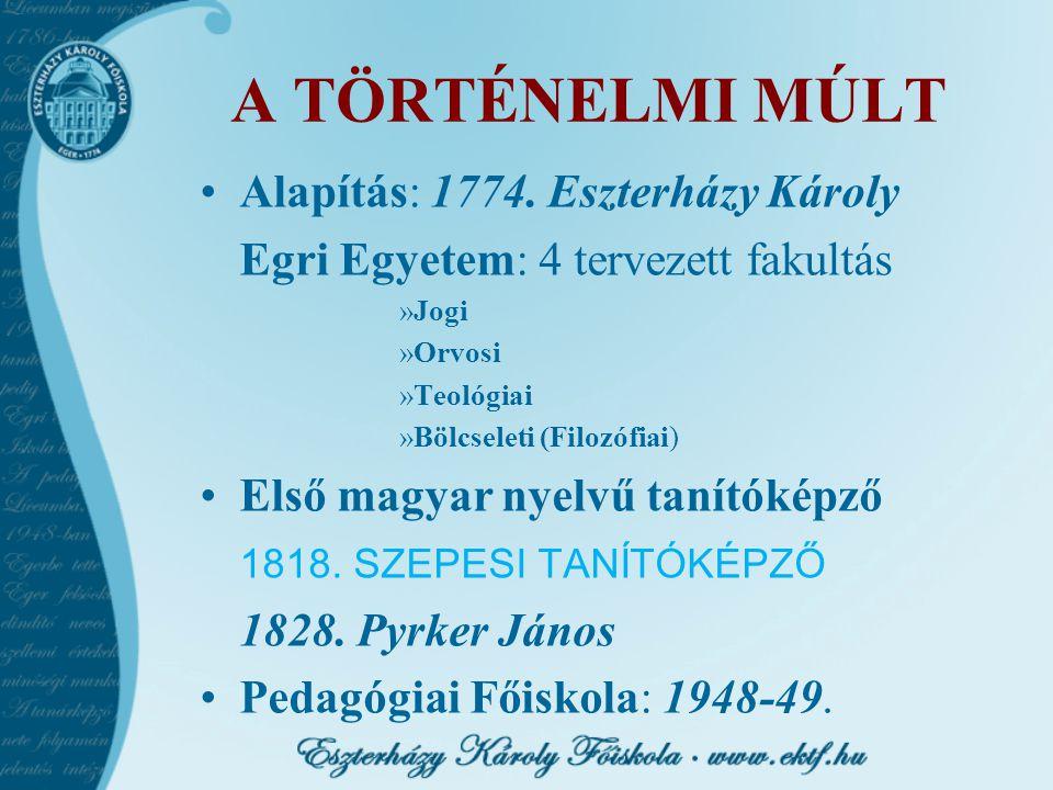 A TÖRTÉNELMI MÚLT Alapítás: 1774. Eszterházy Károly Egri Egyetem: 4 tervezett fakultás »Jogi »Orvosi »Teológiai »Bölcseleti (Filozófiai) Első magyar n