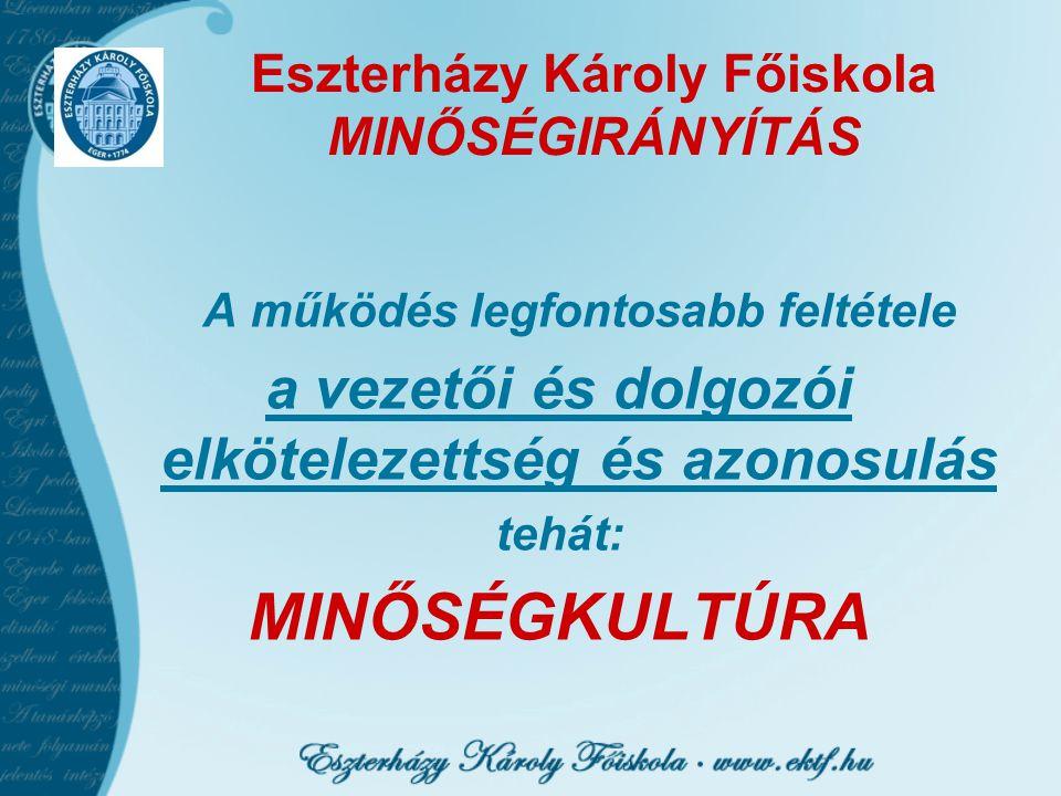 Eszterházy Károly Főiskola MINŐSÉGIRÁNYÍTÁS A működés legfontosabb feltétele a vezetői és dolgozói elkötelezettség és azonosulás tehát: MINŐSÉGKULTÚRA