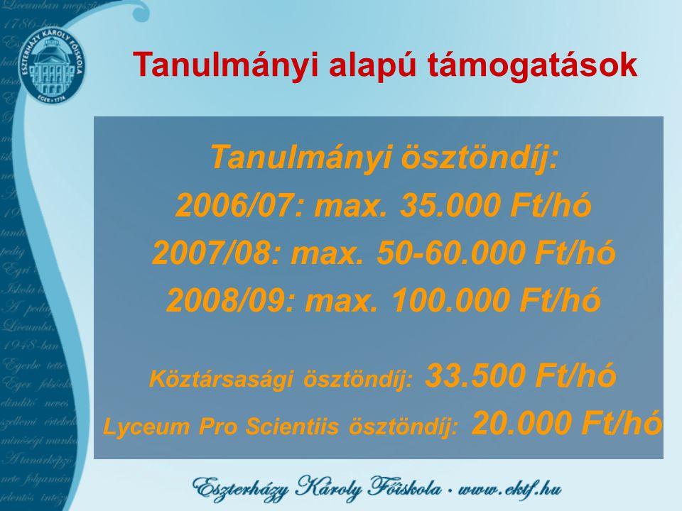 Tanulmányi alapú támogatások Tanulmányi ösztöndíj: 2006/07: max.