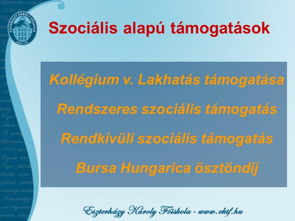 Szociális alapú támogatások Kollégium v. Lakhatás támogatása Rendszeres szociális támogatás Rendkívüli szociális támogatás Bursa Hungarica ösztöndíj