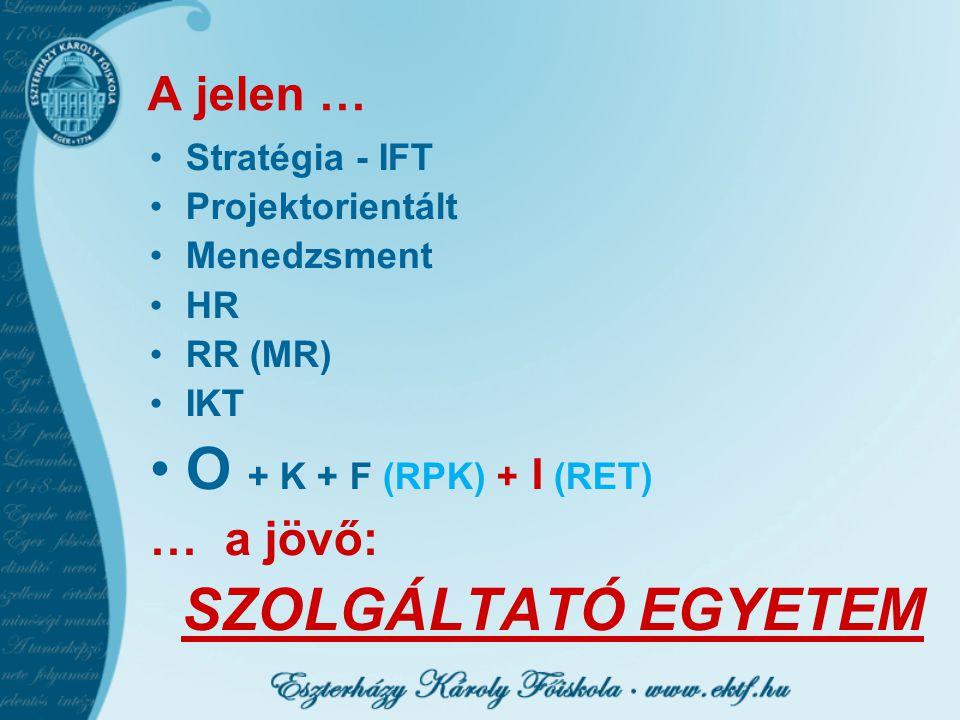 A jelen … Stratégia - IFT Projektorientált Menedzsment HR RR (MR) IKT O + K + F (RPK) + I (RET) … a jövő: SZOLGÁLTATÓ EGYETEM