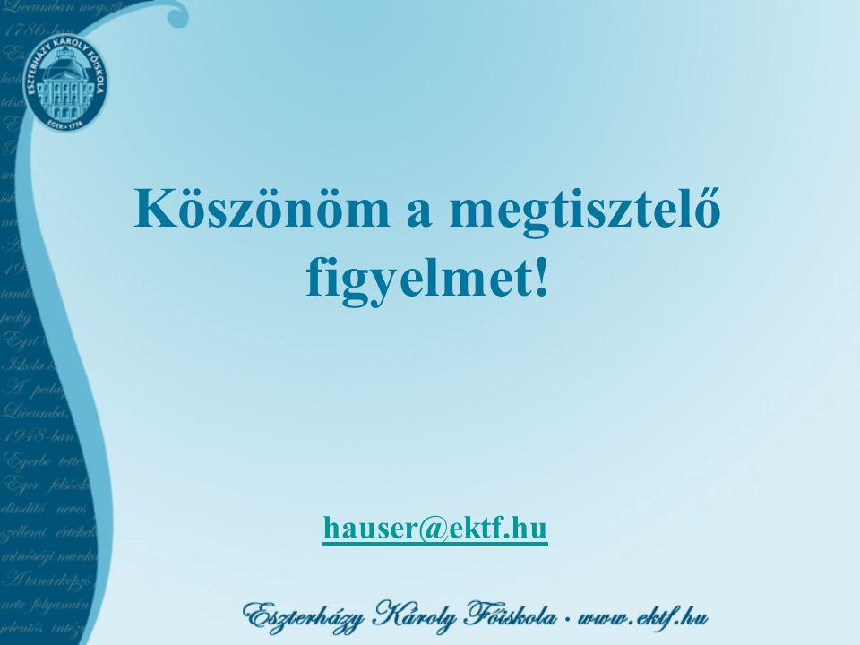 hauser@ektf.hu Köszönöm a megtisztelő figyelmet!