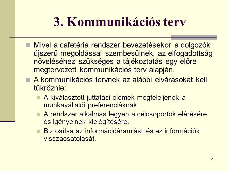 28 3. Kommunikációs terv Mivel a cafetéria rendszer bevezetésekor a dolgozók újszerű megoldással szembesülnek, az elfogadottság növeléséhez szükséges