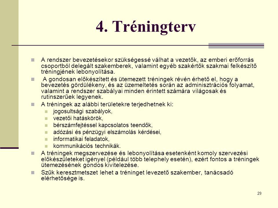29 4. Tréningterv A rendszer bevezetésekor szükségessé válhat a vezetők, az emberi erőforrás csoportból delegált szakemberek, valamint egyéb szakértők
