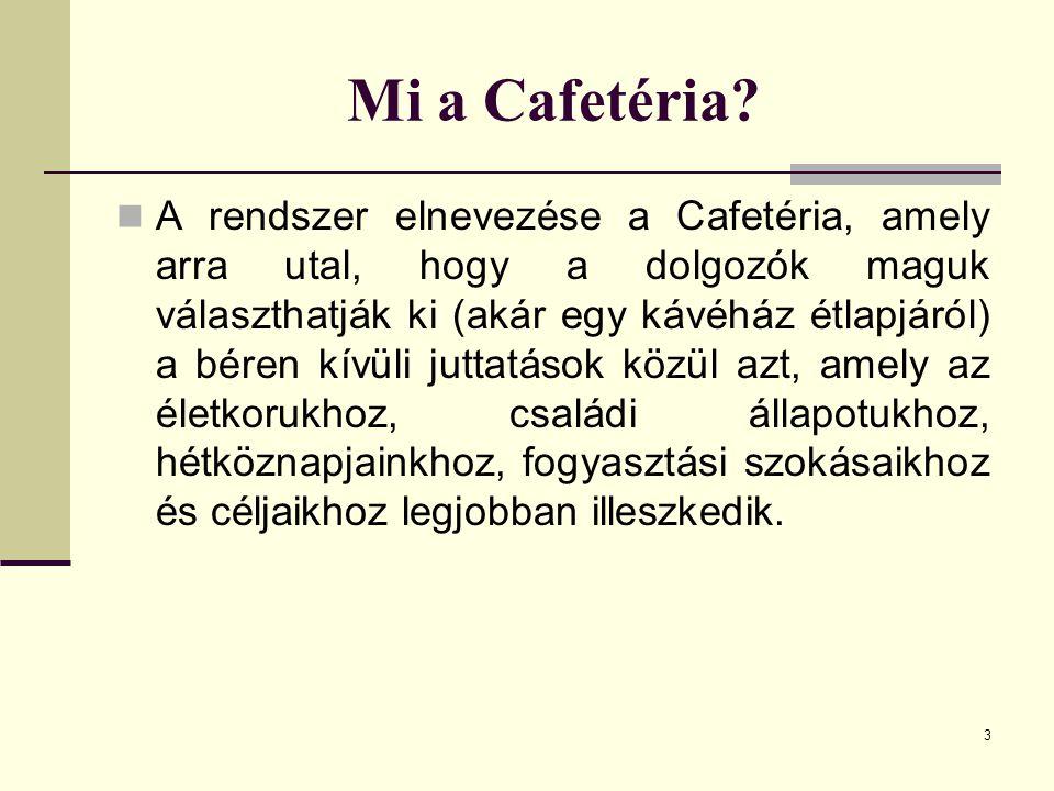 3 Mi a Cafetéria? A rendszer elnevezése a Cafetéria, amely arra utal, hogy a dolgozók maguk választhatják ki (akár egy kávéház étlapjáról) a béren kív