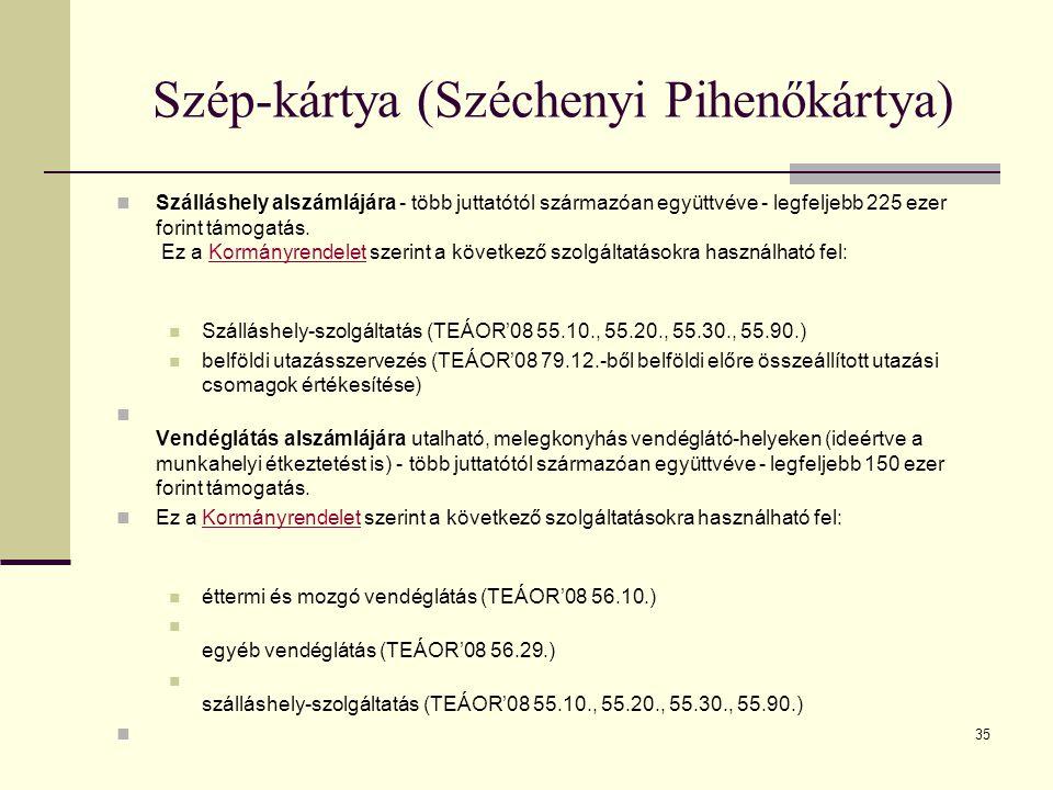 35 Szép-kártya (Széchenyi Pihenőkártya) Szálláshely alszámlájára - több juttatótól származóan együttvéve - legfeljebb 225 ezer forint támogatás. Ez a