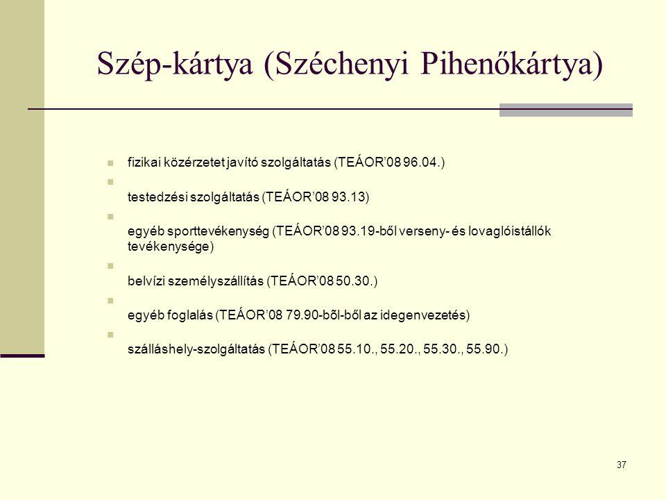 37 Szép-kártya (Széchenyi Pihenőkártya) fizikai közérzetet javító szolgáltatás (TEÁOR'08 96.04.) testedzési szolgáltatás (TEÁOR'08 93.13) egyéb sportt