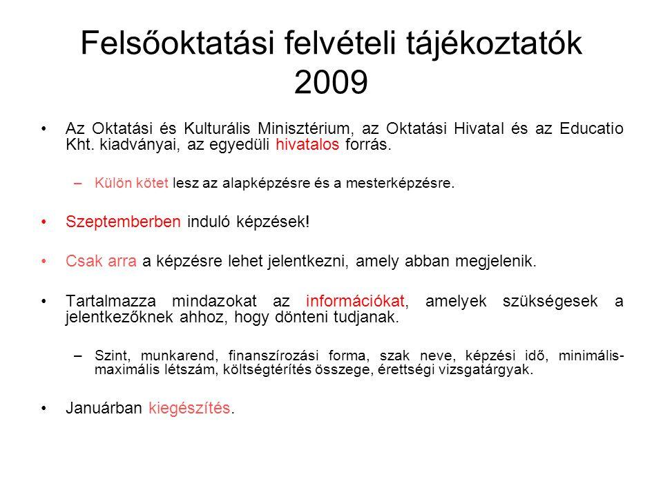 Felsőoktatási felvételi tájékoztatók 2009 Az Oktatási és Kulturális Minisztérium, az Oktatási Hivatal és az Educatio Kht. kiadványai, az egyedüli hiva