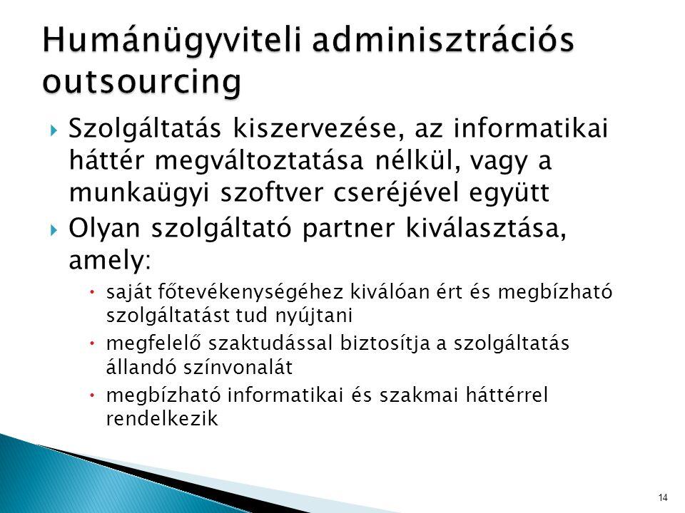  Szolgáltatás kiszervezése, az informatikai háttér megváltoztatása nélkül, vagy a munkaügyi szoftver cseréjével együtt  Olyan szolgáltató partner ki