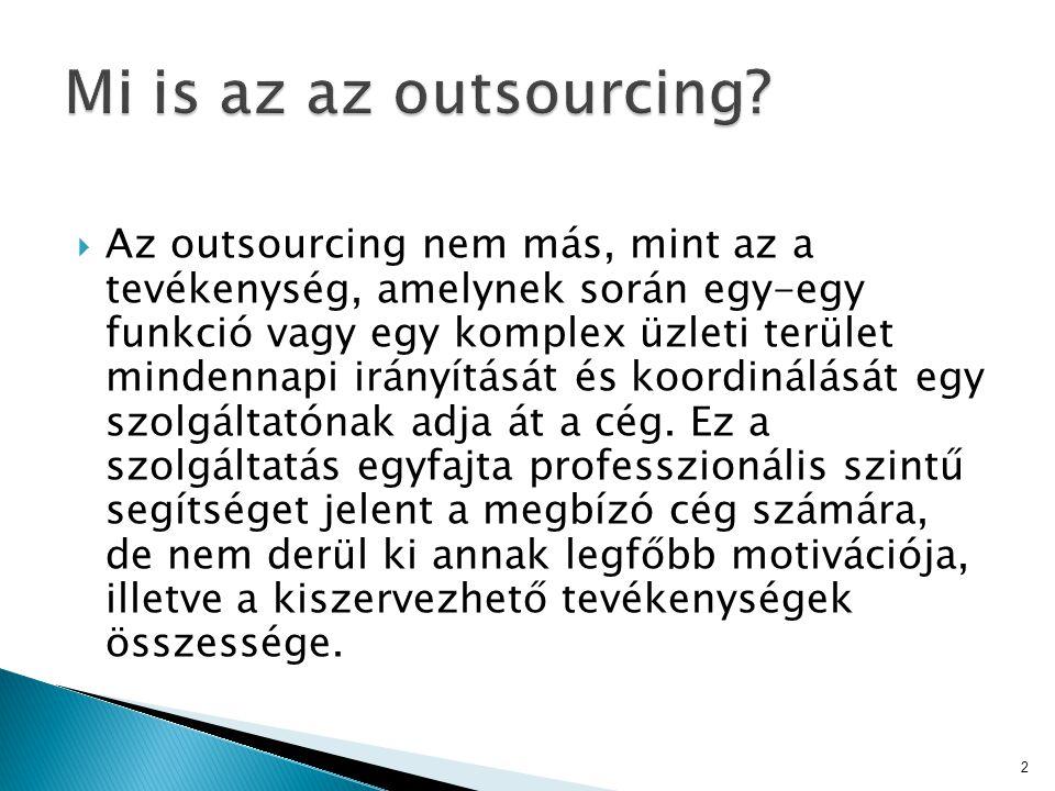  Az outsourcing nem más, mint az a tevékenység, amelynek során egy-egy funkció vagy egy komplex üzleti terület mindennapi irányítását és koordinálásá