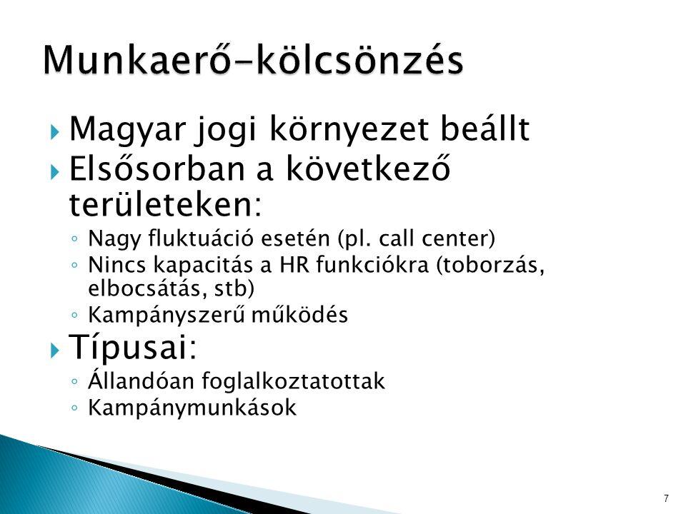  Magyar jogi környezet beállt  Elsősorban a következő területeken: ◦ Nagy fluktuáció esetén (pl. call center) ◦ Nincs kapacitás a HR funkciókra (tob