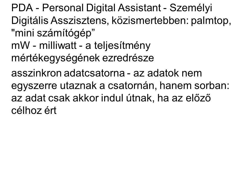 PDA - Personal Digital Assistant - Személyi Digitális Asszisztens, közismertebben: palmtop,