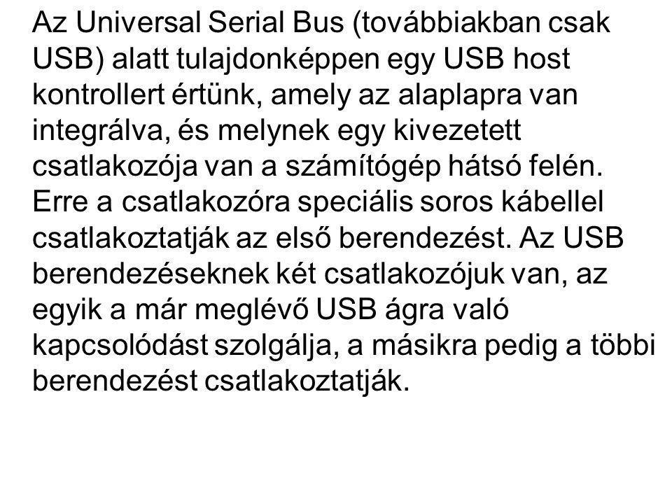 Az Universal Serial Bus (továbbiakban csak USB) alatt tulajdonképpen egy USB host kontrollert értünk, amely az alaplapra van integrálva, és melynek eg