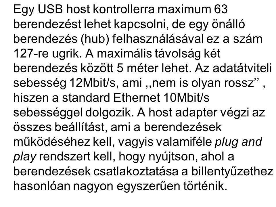 Egy USB host kontrollerra maximum 63 berendezést lehet kapcsolni, de egy önálló berendezés (hub) felhasználásával ez a szám 127-re ugrik. A maximális