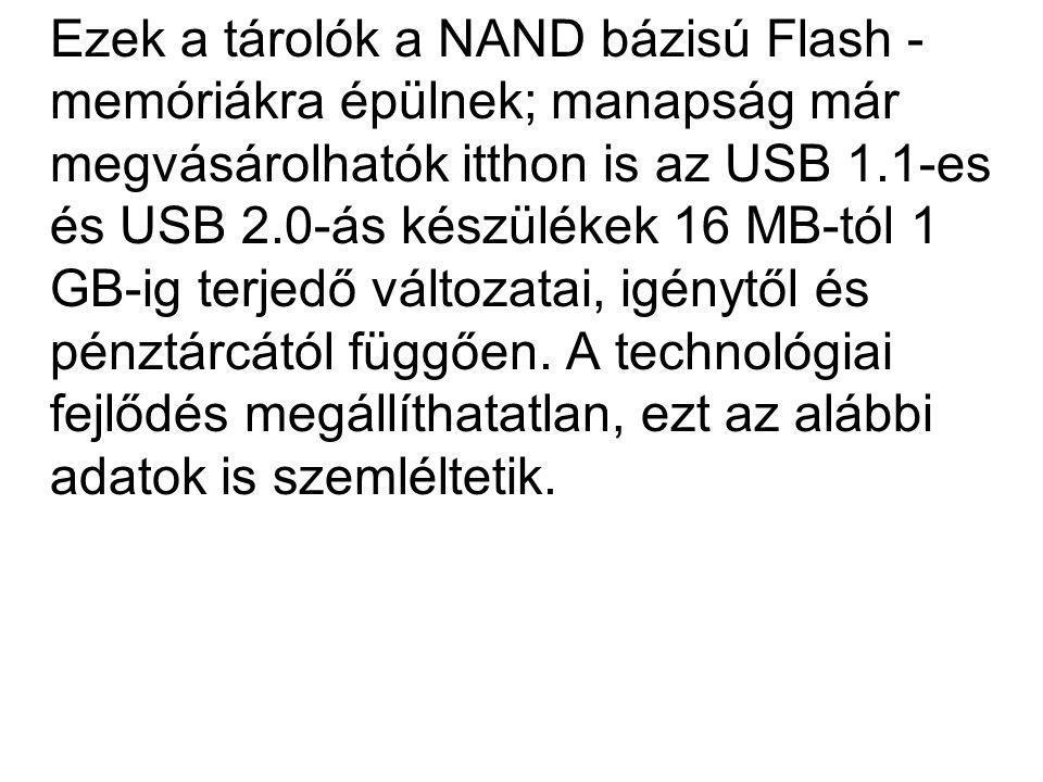 Ezek a tárolók a NAND bázisú Flash - memóriákra épülnek; manapság már megvásárolhatók itthon is az USB 1.1-es és USB 2.0-ás készülékek 16 MB-tól 1 GB-