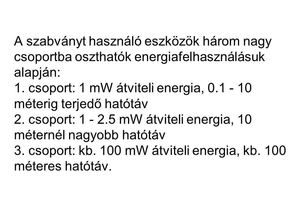 A szabványt használó eszközök három nagy csoportba oszthatók energiafelhasználásuk alapján: 1. csoport: 1 mW átviteli energia, 0.1 - 10 méterig terjed