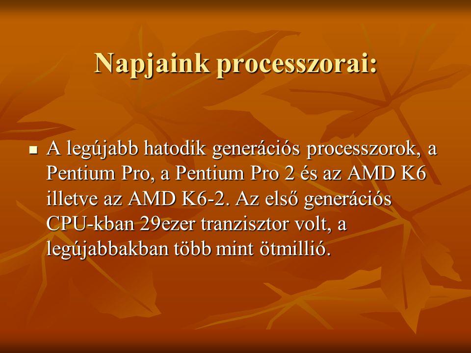 Napjaink processzorai: A legújabb hatodik generációs processzorok, a Pentium Pro, a Pentium Pro 2 és az AMD K6 illetve az AMD K6-2. Az első generációs