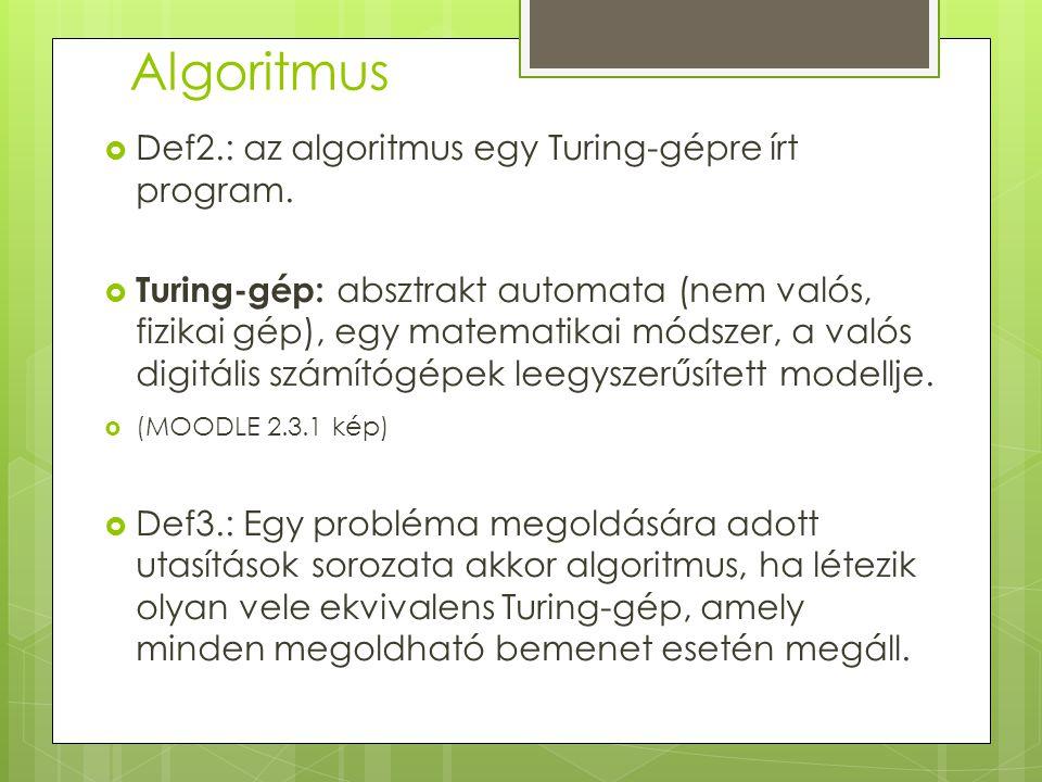 Algoritmus  Def2.: az algoritmus egy Turing-gépre írt program.