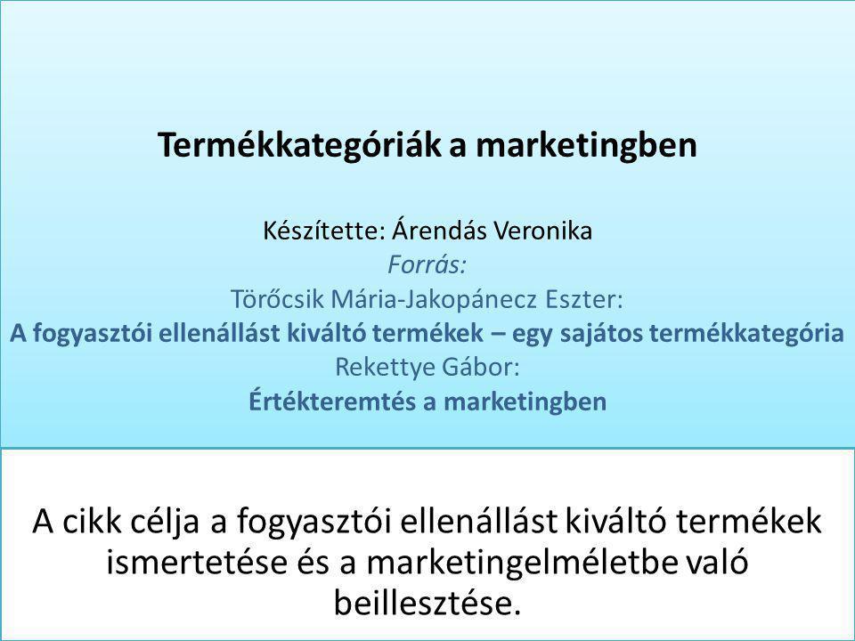 Termékkategóriák a marketingben Készítette: Árendás Veronika Forrás: Törőcsik Mária-Jakopánecz Eszter: A fogyasztói ellenállást kiváltó termékek – egy
