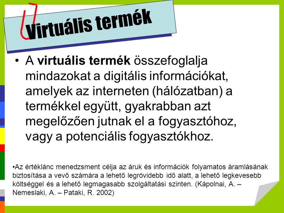"""virtuális termék Összetevők: digitális leírás, műszaki jellemzők, felhasználónak szánt üzenetek (a felhasználó számára megkülönböztetett fontossággal bíró jellemzőket """"elvárt termék ígérete) marketing információk (termékkialakítás, design, reklám-jelleg), digitális szolgáltatások (installáció, up-grade, termék utógondozás, fejlesztési hírek, vevő-""""behálózás , kedvezmények stb.), testreszabást segítő internet funkciók (egyedi jelleget kölcsönző lehetőségek, kiszerelés, sajátos összetétel stb.)."""