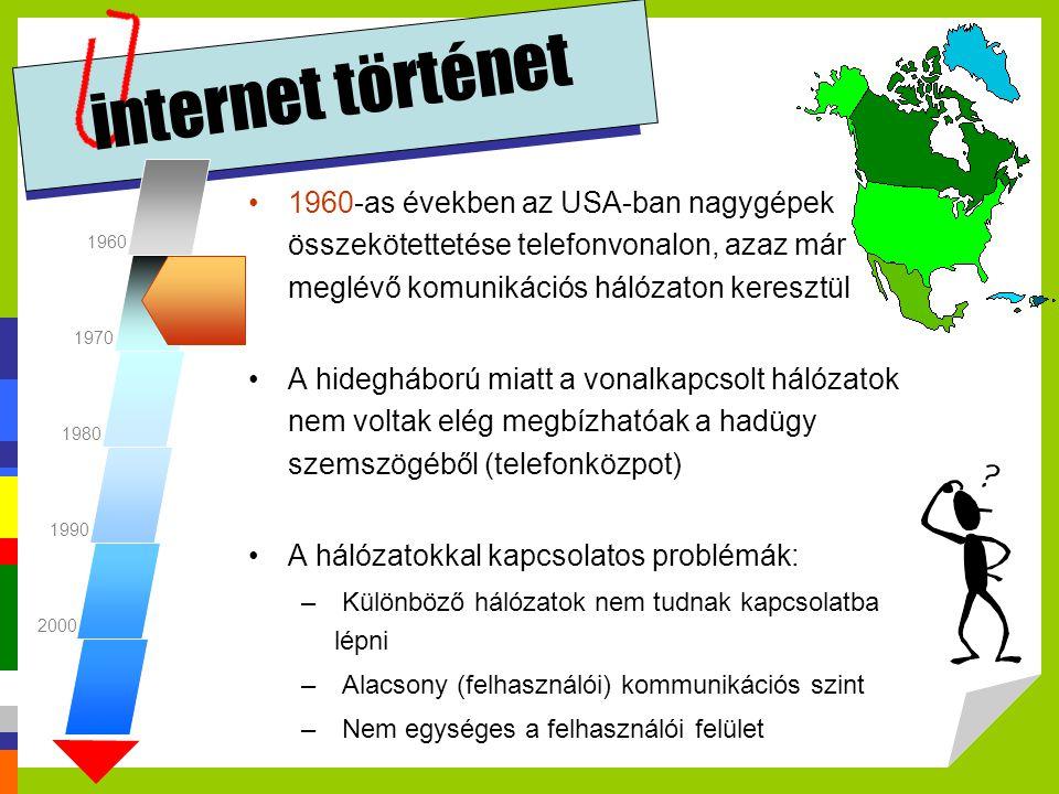 internet történet 1960-as évek: a hálózatokkal szemben megfogalmazott elvárások –(telefon)központoktól mentes legyen, –a továbbított üzenetek csomagokra tagolva haladjanak, –a csomagok eltérő útvonalon juthassanak el a címzetthez, –a hostok több csatornát használhassanak kommunikációhoz, –ne a hálózat végezze el az adatok kódolását, kizárólag azok továbbítását oldja meg –A hálózat legyen garanciamentes, azaz a hostok ne feltételezzék annak hibátlan működését, hanem ők maguk gondoskodjanak az ellenőrzésről 1960 1970 1980 1990 2000