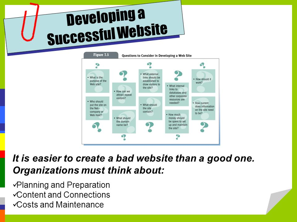 Developing a Successful Website It is easier to create a bad website than a good one. Organizations must think about: Planning and Preparation Content