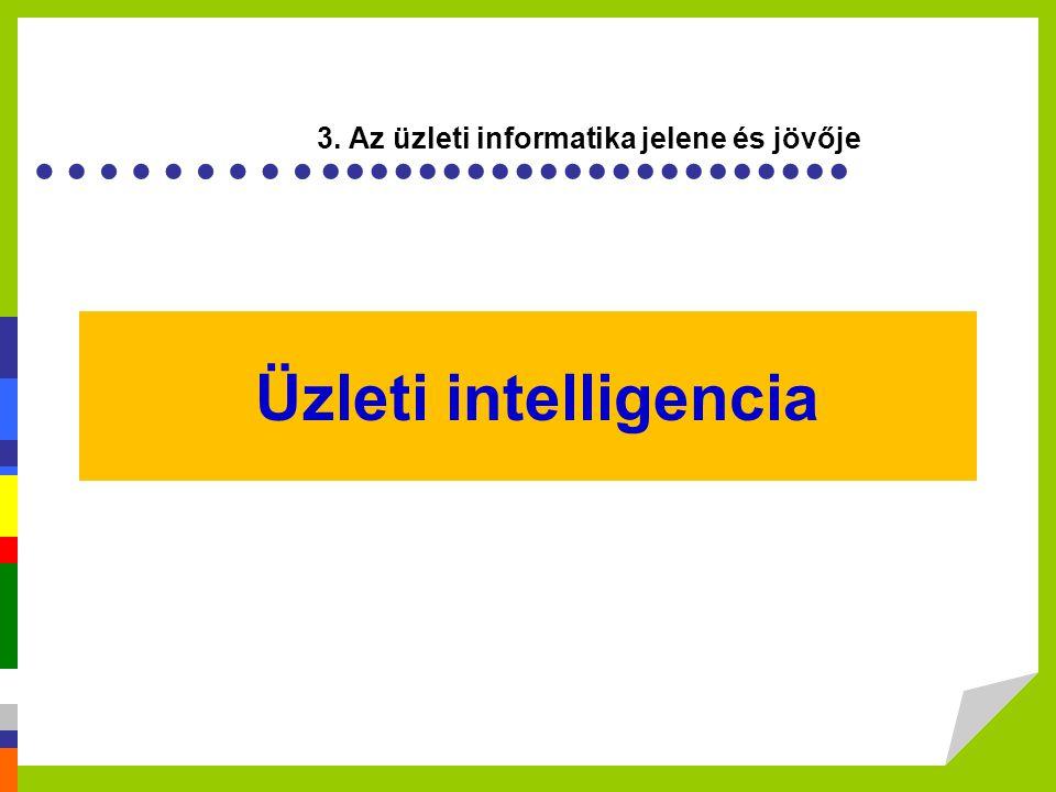 a jövő rendszerei vállalat irányítási rendszerek –vállalatirányítási rendszerek (ERP) –ügyfélkapcsolati –szállítókezelési –üzleti intelligencia kognitív rendszerek –nyeltechnológia (fordító, értelemező), beszéd- és szövegfelismerés, tudásmendzsment eszközök, robotika, jentésalapú technológiák webalkalmazások –RIA - Rich Internet application)