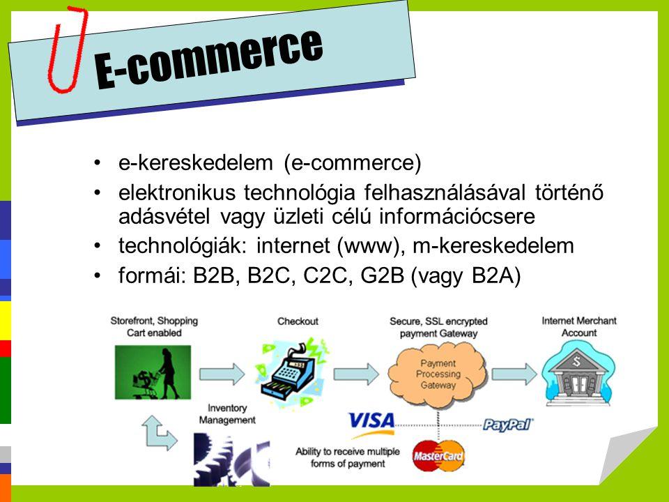 E-commerce e-kereskedelem az e-business-nél szűkebb fogalom, nem csupán a kereskedelmi tevékenységre utal, hanem –a fogyasztók számára nyújtott szolgáltatásokat, –az üzleti partnerekkel való együttműködést és –a szervezeten belüli elektronikus tranzakciókat is magában foglalja.