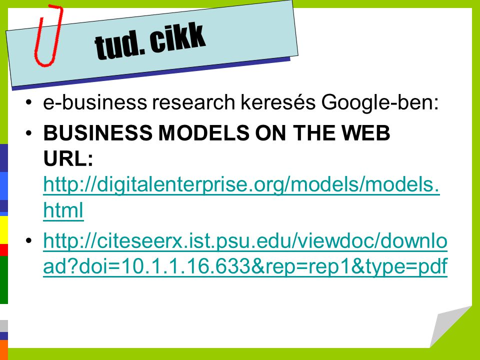 tud. cikk e-business research keresés Google-ben: BUSINESS MODELS ON THE WEB URL: http://digitalenterprise.org/models/models. html http://digitalenter
