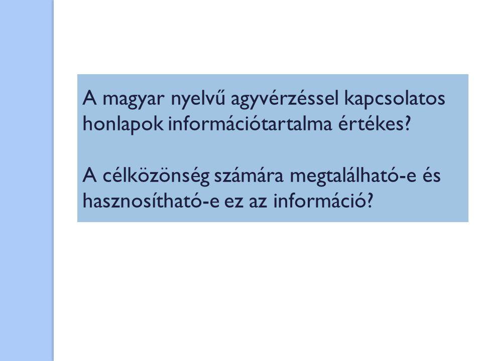 A magyar nyelvű agyvérzéssel kapcsolatos honlapok információtartalma értékes? A célközönség számára megtalálható-e és hasznosítható-e ez az információ