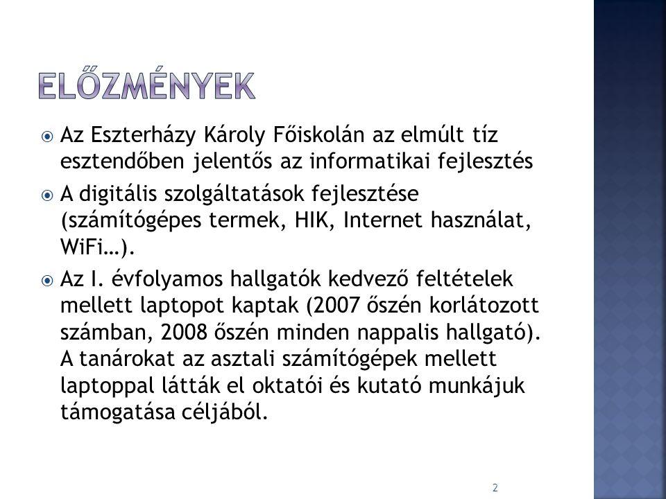  Az Eszterházy Károly Főiskolán az elmúlt tíz esztendőben jelentős az informatikai fejlesztés  A digitális szolgáltatások fejlesztése (számítógépes termek, HIK, Internet használat, WiFi…).