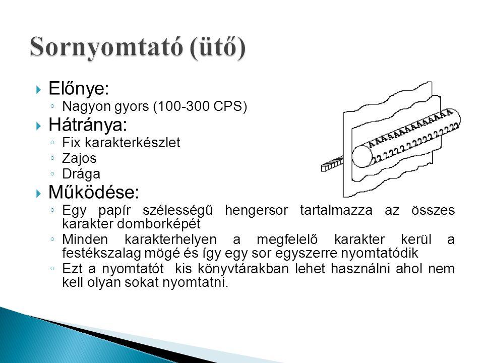  Előnye: ◦ Nagyon gyors (100-300 CPS)  Hátránya: ◦ Fix karakterkészlet ◦ Zajos ◦ Drága  Működése: ◦ Egy papír szélességű hengersor tartalmazza az ö