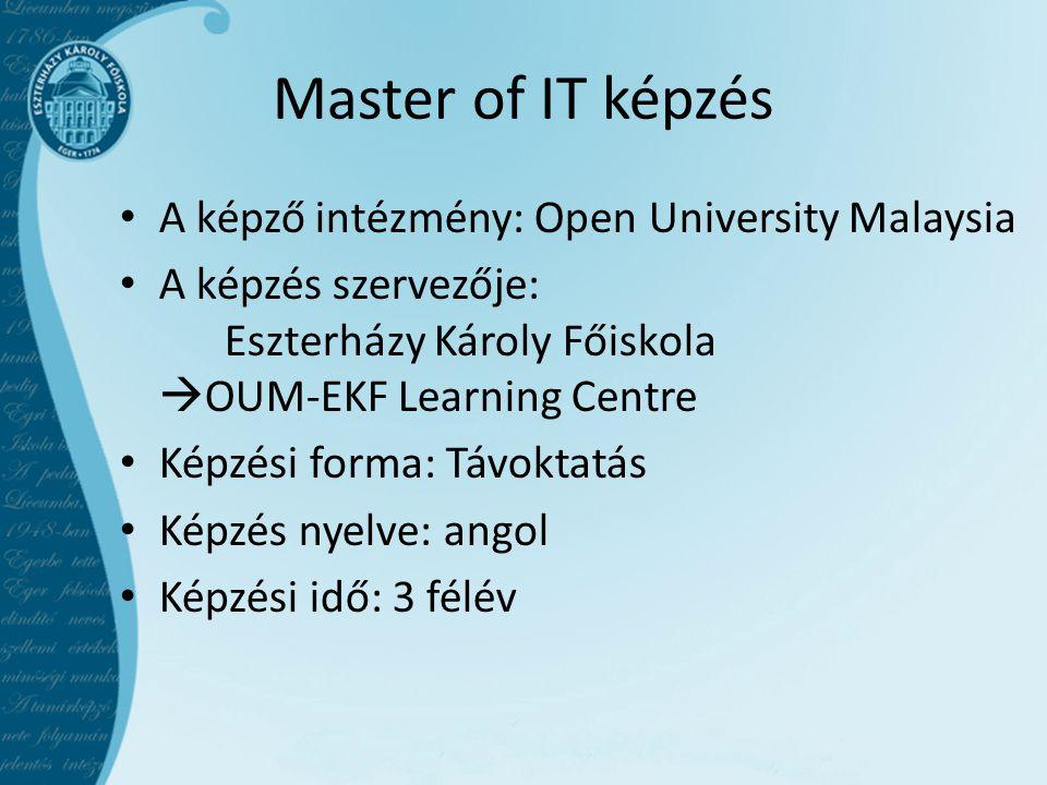 Master of IT képzés A képző intézmény: Open University Malaysia A képzés szervezője: Eszterházy Károly Főiskola  OUM-EKF Learning Centre Képzési forma: Távoktatás Képzés nyelve: angol Képzési idő: 3 félév