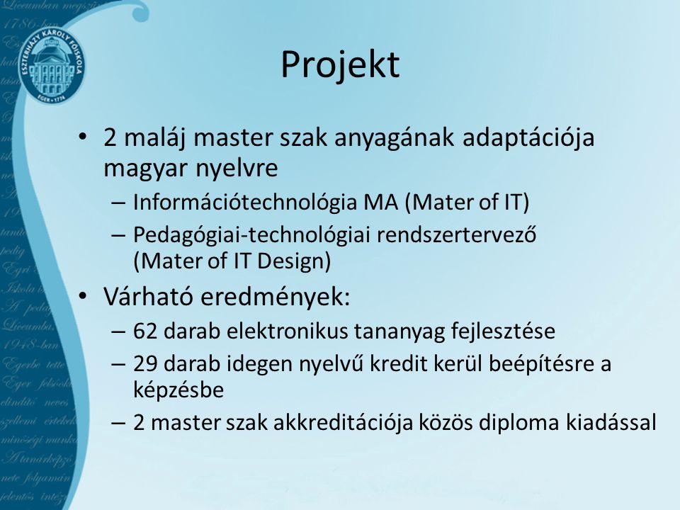 Projekt 2 maláj master szak anyagának adaptációja magyar nyelvre – Információtechnológia MA (Mater of IT) – Pedagógiai-technológiai rendszertervező (Mater of IT Design) Várható eredmények: – 62 darab elektronikus tananyag fejlesztése – 29 darab idegen nyelvű kredit kerül beépítésre a képzésbe – 2 master szak akkreditációja közös diploma kiadással