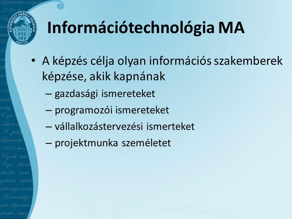 Információtechnológia MA A képzés célja olyan információs szakemberek képzése, akik kapnának – gazdasági ismereteket – programozói ismereteket – vállalkozástervezési ismerteket – projektmunka személetet
