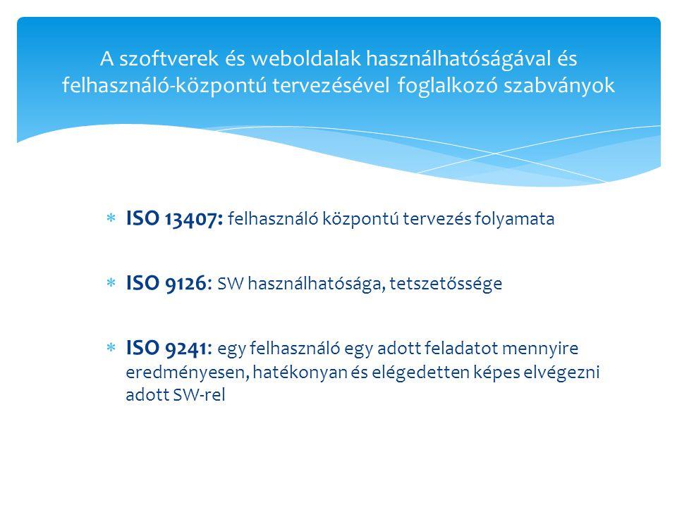  ISO 13407: felhasználó központú tervezés folyamata  ISO 9126: SW használhatósága, tetszetőssége  ISO 9241: egy felhasználó egy adott feladatot mennyire eredményesen, hatékonyan és elégedetten képes elvégezni adott SW-rel A szoftverek és weboldalak használhatóságával és felhasználó-központú tervezésével foglalkozó szabványok