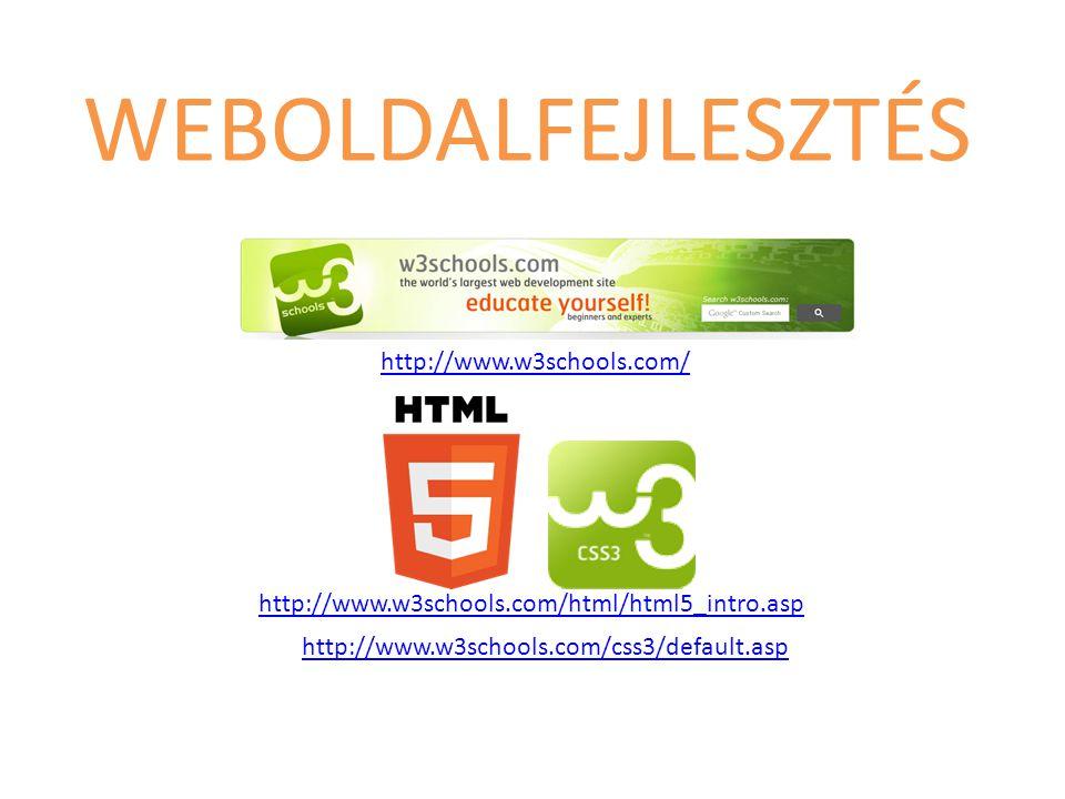 http://www.w3schools.com/html/html5_intro.asp http://www.w3schools.com/css3/default.asp http://www.w3schools.com/ WEBOLDALFEJLESZTÉS