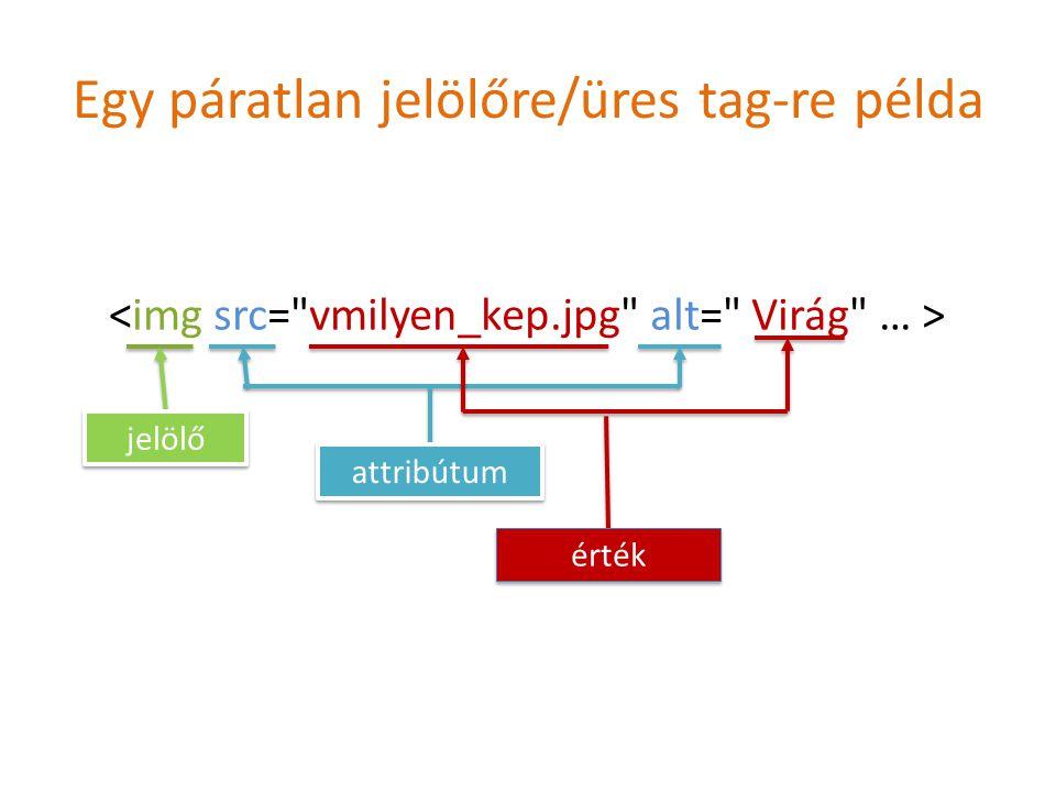 Egy páratlan jelölőre/üres tag-re példa jelölő attribútum érték