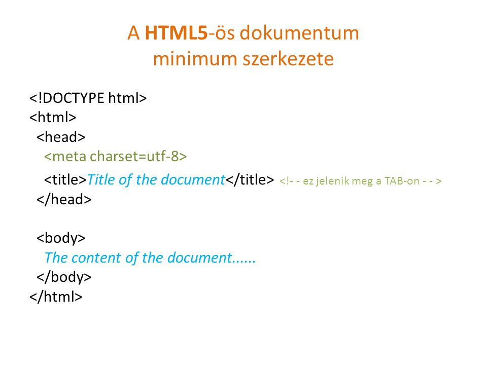 A HTML5-ös dokumentum minimum szerkezete Title of the document The content of the document......