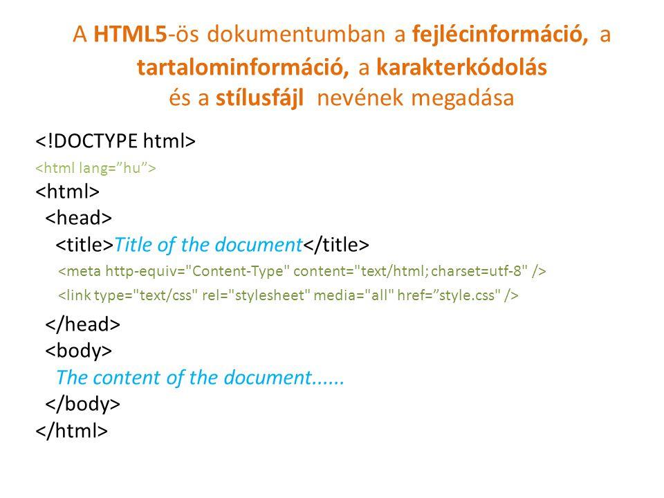 A HTML5-ös dokumentumban a fejlécinformáció, a tartalominformáció, a karakterkódolás és a stílusfájl nevének megadása Title of the document The conten