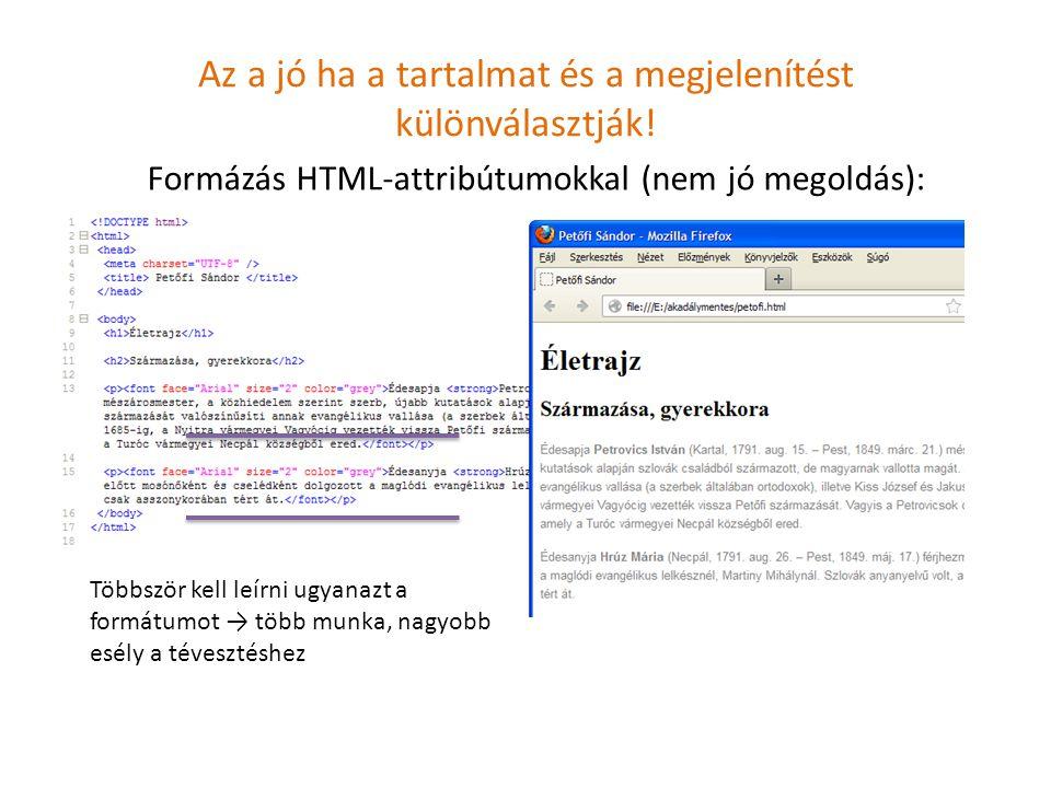 Az a jó ha a tartalmat és a megjelenítést különválasztják! Formázás HTML-attribútumokkal (nem jó megoldás): Többször kell leírni ugyanazt a formátumot