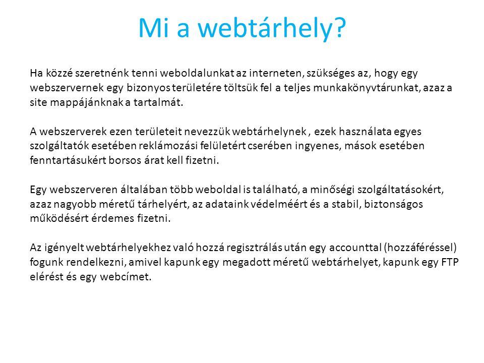 Mi a webtárhely? Ha közzé szeretnénk tenni weboldalunkat az interneten, szükséges az, hogy egy webszervernek egy bizonyos területére töltsük fel a tel