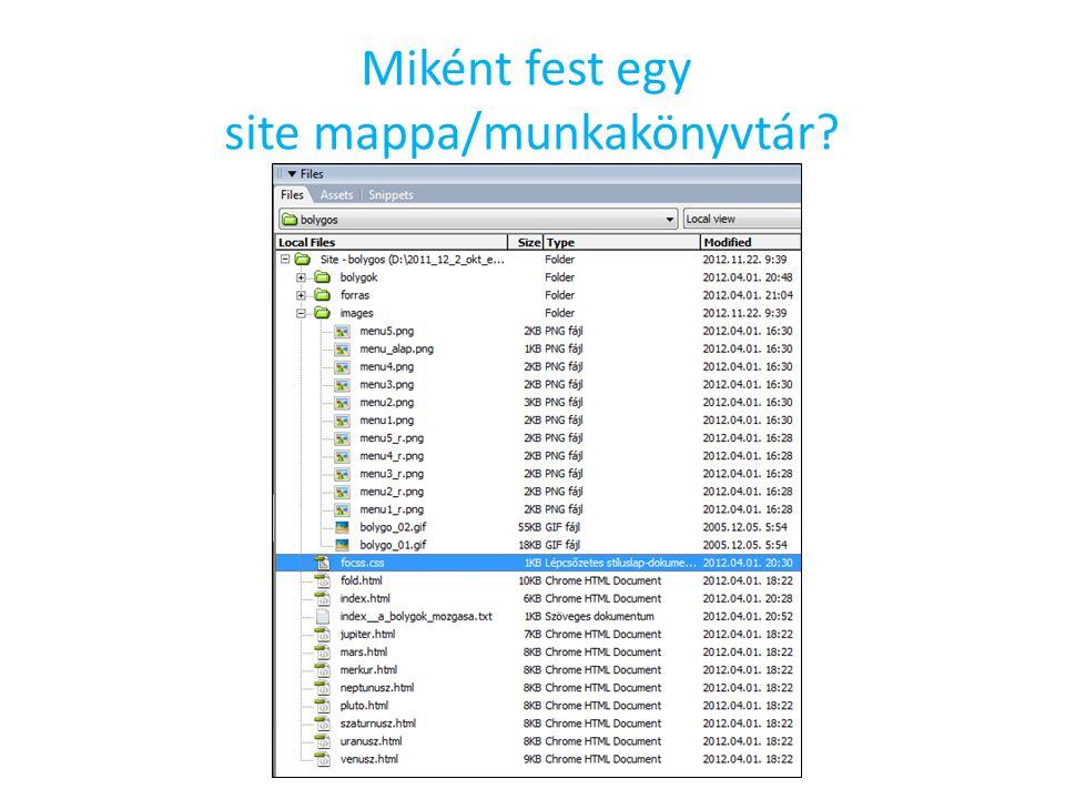 Miként fest egy site mappa/munkakönyvtár?