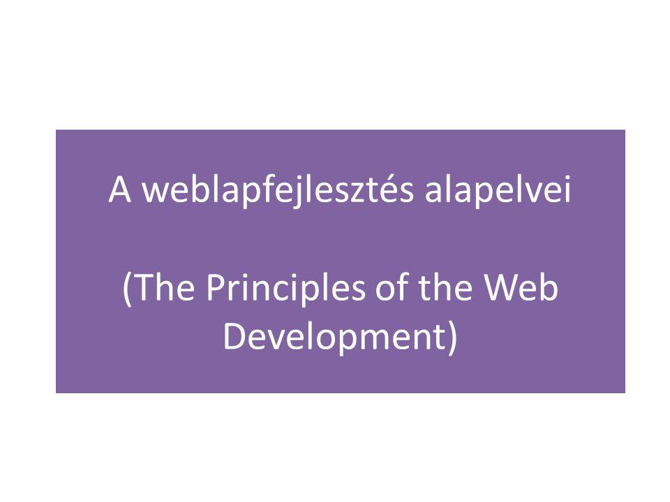 A weblapfejlesztés alapelvei 1.Fájlszerkezettel kapcsolatos alapelvek a.A site-hoz hozzunk létre egy munkakönyvtárat, ezen belül helyezzük el az összes site-hoz kapcsolódó fájlt és könyvtárat.