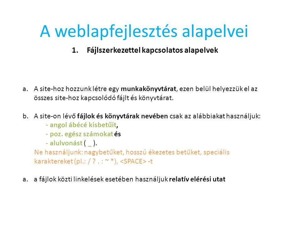 A weblapfejlesztés alapelvei 1.Fájlszerkezettel kapcsolatos alapelvek a.A site-hoz hozzunk létre egy munkakönyvtárat, ezen belül helyezzük el az össze
