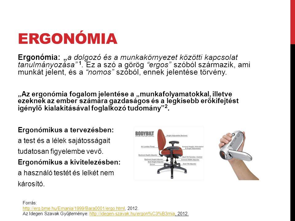 """ERGONÓMIA Ergonómia: """"a dolgozó és a munkakörnyezet közötti kapcsolat tanulmányozása"""" 1. Ez a szó a görög """"ergos"""" szóból származik, ami munkát jelent,"""