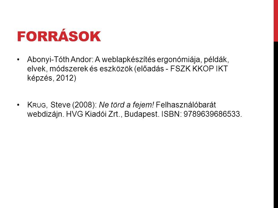 FORRÁSOK Abonyi-Tóth Andor: A weblapkészítés ergonómiája, példák, elvek, módszerek és eszközök (előadás - FSZK KKOP IKT képzés, 2012) K RUG, Steve (20