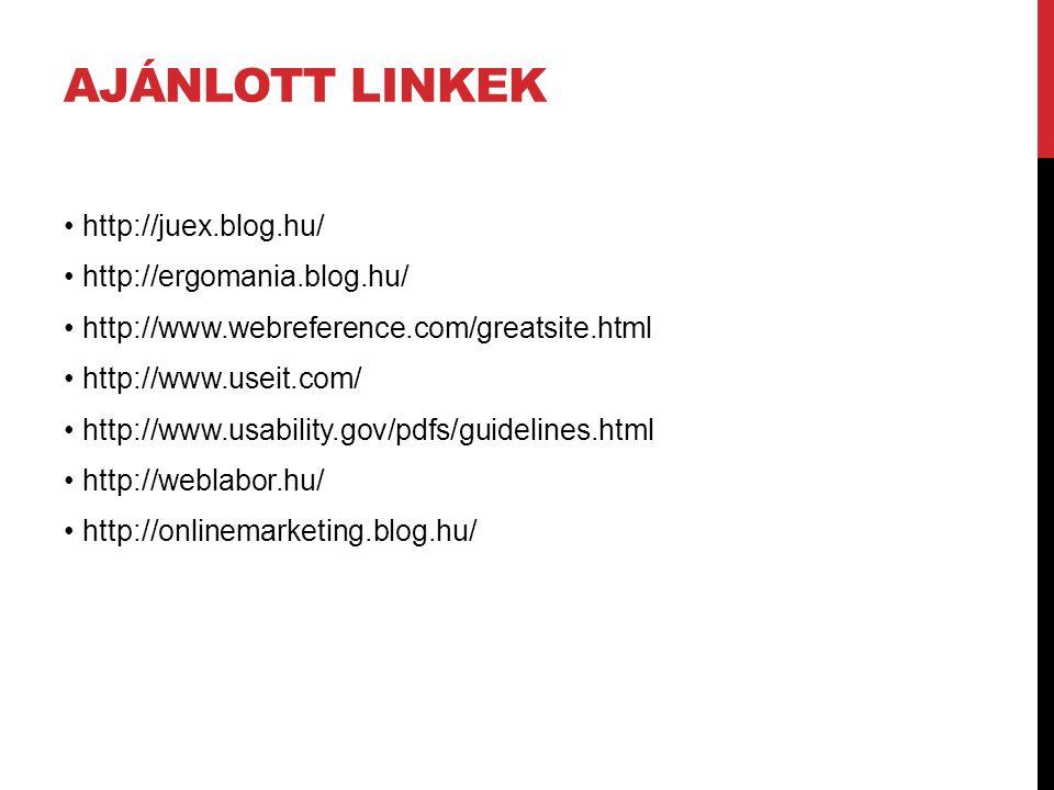 AJÁNLOTT LINKEK http://juex.blog.hu/ http://ergomania.blog.hu/ http://www.webreference.com/greatsite.html http://www.useit.com/ http://www.usability.g
